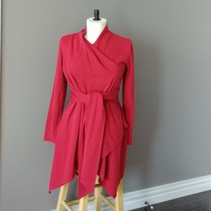 Wrap belted cascading cardigan